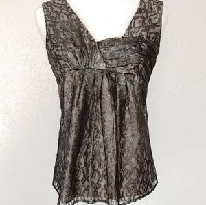 Cynthia Steffe grey and black lace top